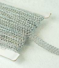 Metallic Silver 20mm Criss Cross Braid